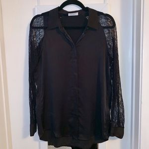 Equipment Black Silk Blouse with Lace Sleeves